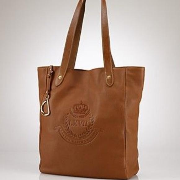 15beb6a7fa Lauren Ralph Lauren Handbags - Ralph Lauren Zip Top Leather Tote